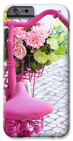 Garden Scene Photographs iPhone Cases - Pink Bike iPhone Case by Carlos Caetano