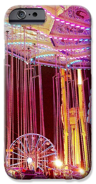Pink Carnival Festival Ferris Wheel Night Ride iPhone Case by Kathy Fornal