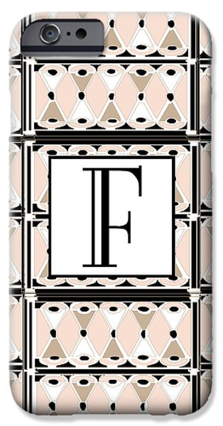 Party Invite iPhone Cases - Pink Champagne Gatsby Monogram  F iPhone Case by Cecely Bloom
