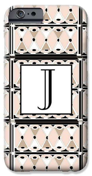 Party Invite iPhone Cases - Pink Champagne Gatsby Monogram  J iPhone Case by Cecely Bloom