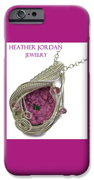 Jordan Jewelry iPhone Cases - Pink Cobaltoan Calcite Druzy and Sterling Silver Wire-Wrapped Pendant with Pink Rubellite Tourmaline iPhone Case by Heather Jordan