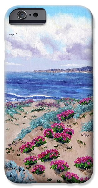 Beach iPhone Cases - Pink Daisies in Sand Dunes iPhone Case by Laura Iverson