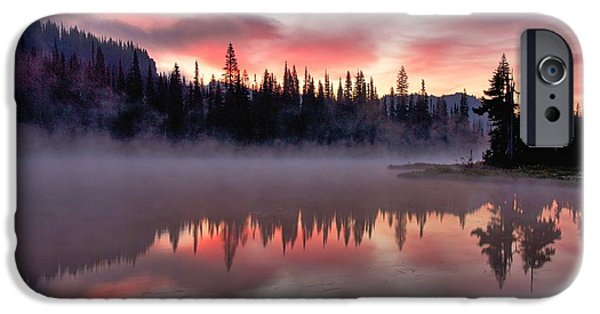 Fog Mist iPhone Cases - Pink Dawn Reflection iPhone Case by Steve Luther