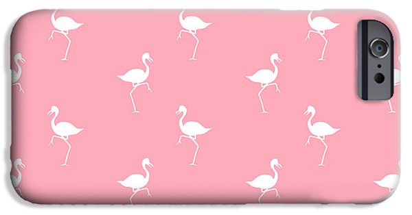 Birds Mixed Media iPhone Cases - Pink Flamingos Pattern iPhone Case by Christina Rollo