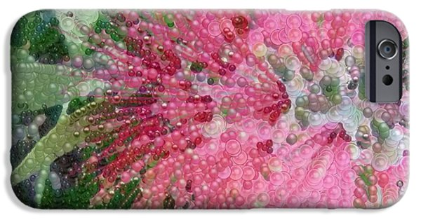 Floral Digital Art Digital Art iPhone Cases - Pink Floral Pearlesque iPhone Case by Catherine Lott