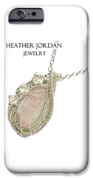 Jordan Jewelry iPhone Cases - Pink Kunzite Pendant in Sterling Silver with Herkimer Diamonds KNZSS5 iPhone Case by Heather Jordan