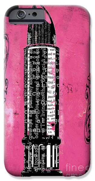 Lips Mixed Media iPhone Cases - Pink Lipstick Writing Print iPhone Case by ArtyZen Home - ArtyZen Studios