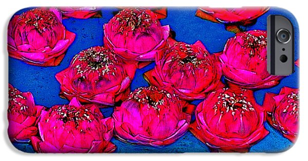 Muay Thai Digital Art iPhone Cases - Pink lotus. Thaisq. Siam Texture. iPhone Case by Andy Za
