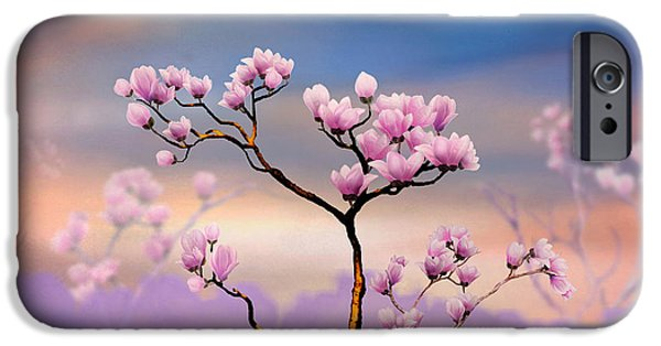 Bedros Mixed Media iPhone Cases - Pink Magnolia - Bright Version iPhone Case by Bedros Awak