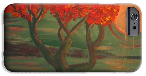 Merging Paintings iPhone Cases - Pink Moon Tree iPhone Case by G Whiteford