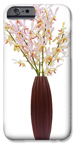 Floral Photographs iPhone Cases - Pink Orchid In Wood Vase iPhone Case by Atiketta Sangasaeng