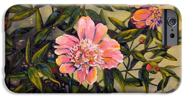 Garden Scene Paintings iPhone Cases - Pink Peonies iPhone Case by Tamara Kulish