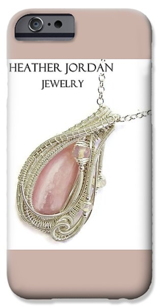 Jordan Jewelry iPhone Cases - Pink Peruvian Opal Pendant in Sterling Silver with Ethiopian Opals PPOSS2 iPhone Case by Heather Jordan