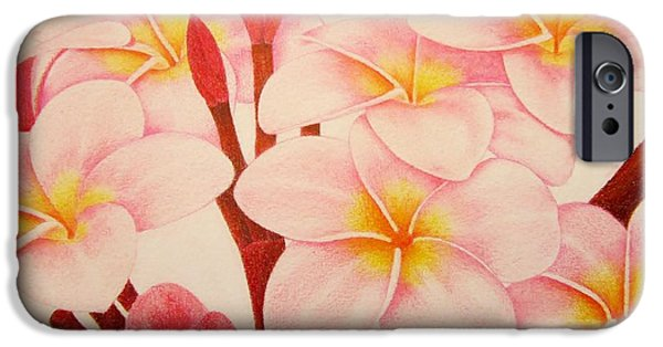 Flora Drawings iPhone Cases - Pink Plumeria iPhone Case by Sharon Patterson