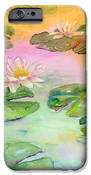 Lilies iPhone Cases - Pink Pond iPhone Case by Amy Kirkpatrick