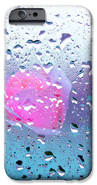 Rainy Day iPhone Cases - Pink Rose 4 iPhone Case by Alex Art