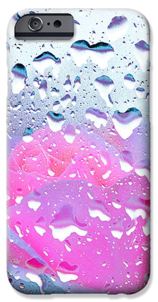 Rainy Day iPhone Cases - Pink Rose 5 iPhone Case by Alex Art