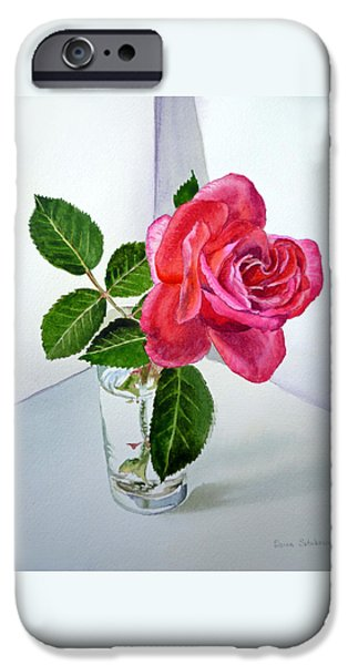 Green Rose iPhone Cases - Pink Rose iPhone Case by Irina Sztukowski