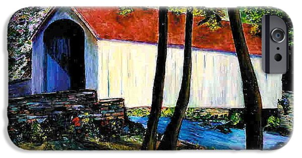 Covered Bridge iPhone Cases - Pink Sky iPhone Case by Marita McVeigh
