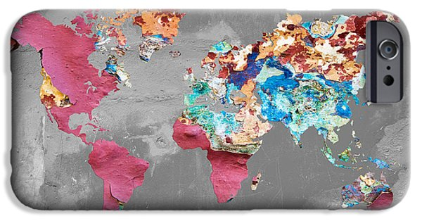 Different Worlds iPhone Cases - Pink street art world map iPhone Case by Delphimages Photo Creations