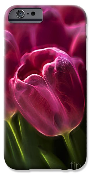 Plant iPhone Cases - Pink Tulip Fractal iPhone Case by Terry Weaver
