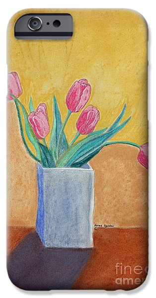Appleton Art iPhone Cases - Pink Tulips iPhone Case by Norma Appleton