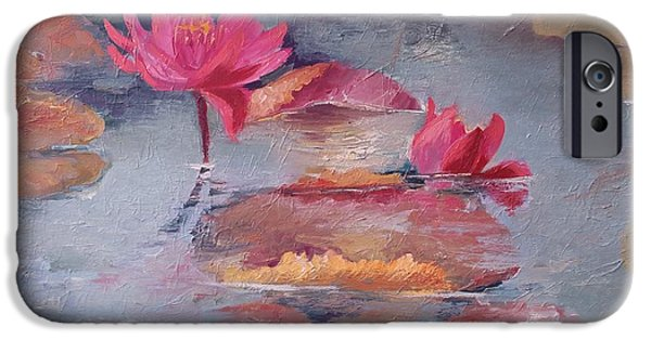 Willow Lake iPhone Cases - Pink waterlilies iPhone Case by Vali Irina Ciobanu