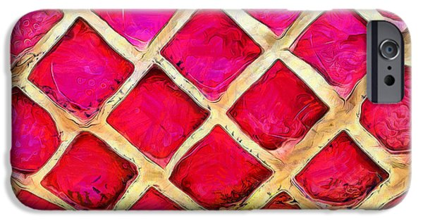 Mosaic iPhone Cases - Pink Windows iPhone Case by Krissy Katsimbras
