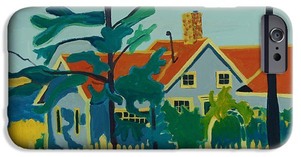 Maine Roads Paintings iPhone Cases - Pinkys House on Monhegan iPhone Case by Debra Bretton Robinson