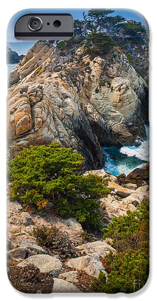Point Lobos State iPhone Cases - Pinnacle Point iPhone Case by Inge Johnsson