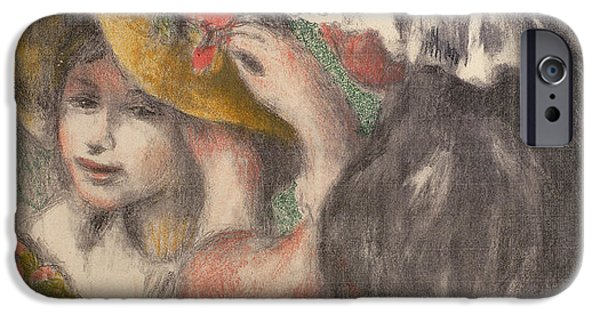Renoir iPhone Cases - Pinning The Hat iPhone Case by Pierre Auguste Renoir