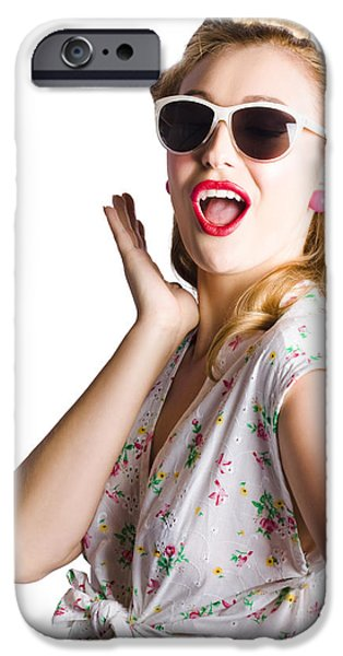 Dismay iPhone Cases - Pinup shouting out loud iPhone Case by Ryan Jorgensen