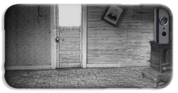 Linoleum iPhone Cases - Pioneer Home Interior - Nevada City Ghost Town Montana iPhone Case by Daniel Hagerman