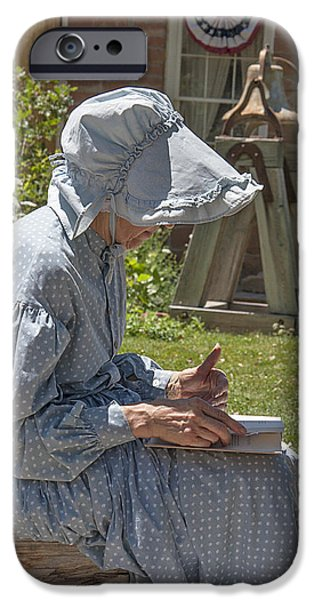 Historical Re-enactments iPhone Cases - Pioneer Woman 2 - Pioneer Village Re-enactment iPhone Case by Steve Ohlsen