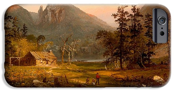 Log Cabin Art iPhone Cases - Pioneers Home At Eagle Cliff - White Mountains iPhone Case by Jasper Francis Cropsey