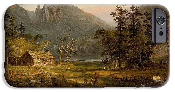 Destiny iPhone Cases - Pioneers Home Eagle Cliff  White Mountains iPhone Case by Jasper Francis Cropsey