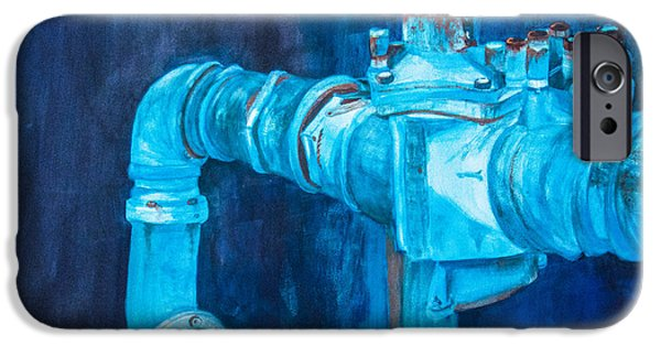 Rust iPhone Cases - Pipes and Valves in Blue iPhone Case by Vickie Myers