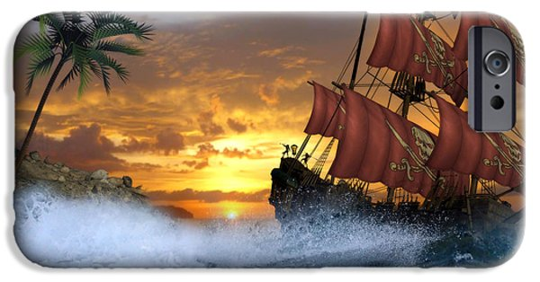 Pirate Ship iPhone Cases - Pirate Cove iPhone Case by Suzanne Amberson