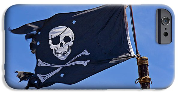 Pirate iPhone Cases - Pirate flag skull and cross bones iPhone Case by Garry Gay