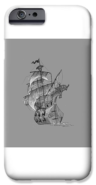 Pirate Ship iPhone Cases - Pirate ship iPhone Case by Andy Catling