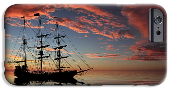 Pirate Ship iPhone Cases - Pirate Ship at Sunset iPhone Case by Shane Bechler