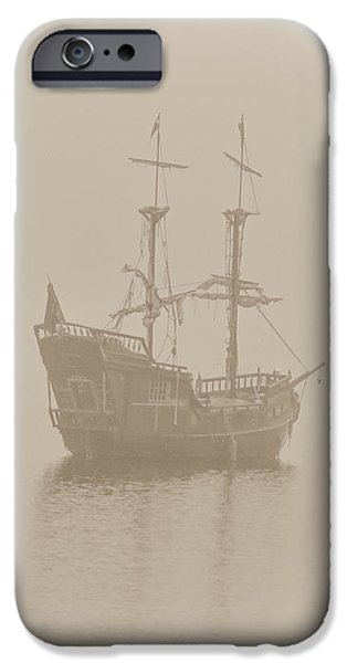 Pirate Ships iPhone Cases - Pirate Ship In Sepia iPhone Case by Joy McAdams
