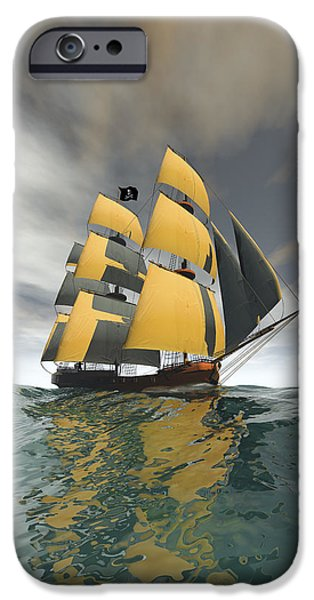 Pirate Ship iPhone Cases - Pirate Ship on the High Seas iPhone Case by Carol and Mike Werner