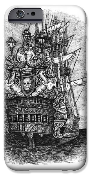 Pirate Ships Drawings iPhone Cases - Pirate ship iPhone Case by Tanya Crum