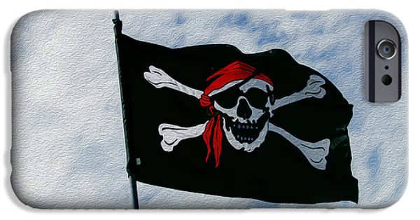 Pirate Ship iPhone Cases - Pirates Flag iPhone Case by Linda Troski