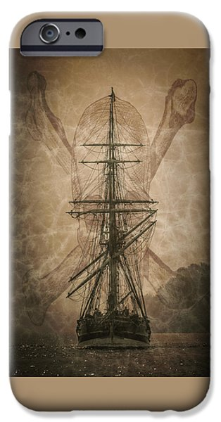 Pirate Ships iPhone Cases - Pirates Landing D9892 iPhone Case by Wes and Dotty Weber