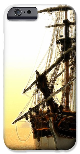 Pirate Ships iPhone Cases - Pirates Sunset Sail  iPhone Case by Athena Mckinzie