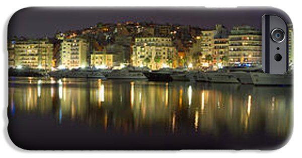 Balcony iPhone Cases - Pireas bay Panoramic at night 126 Degrees  iPhone Case by Vassilis Triantafyllidis