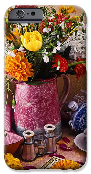 Pitcher of flowers still life iPhone Case by Garry Gay