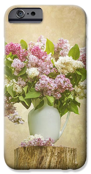 Flower Of Life iPhone Cases - Pitcher of Lilacs iPhone Case by Patti Deters